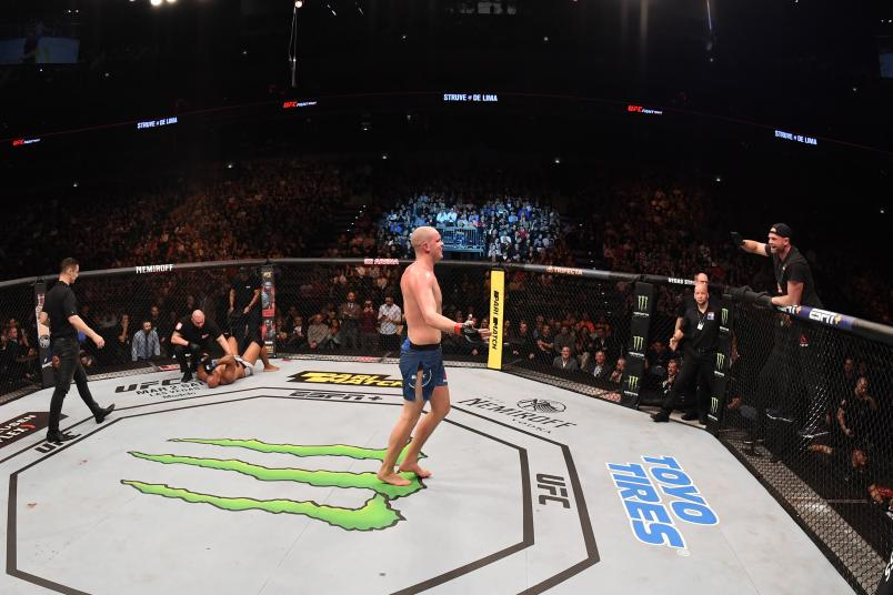 Stefan Struve celebrates after his submission victory over Marcos Rogerio De Lima in their heavyweight bout during the UFC Fight Night event at O2 Arena on February 23, 2019 in the Prague, Czech Republic. (Photo by Jeff Bottari/Zuffa LLC via Getty Images)