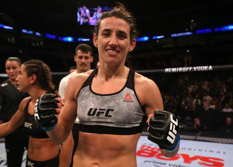 Marina Rodriguez of Brazil celebrates after her victory over Tecia Torres in their strawweight fight during the UFC Fight Night event at Antel Arena on August 10, 2019 in Montevideo, Uruguay. (Photo by Alexandre Schneider/Zuffa LLC)