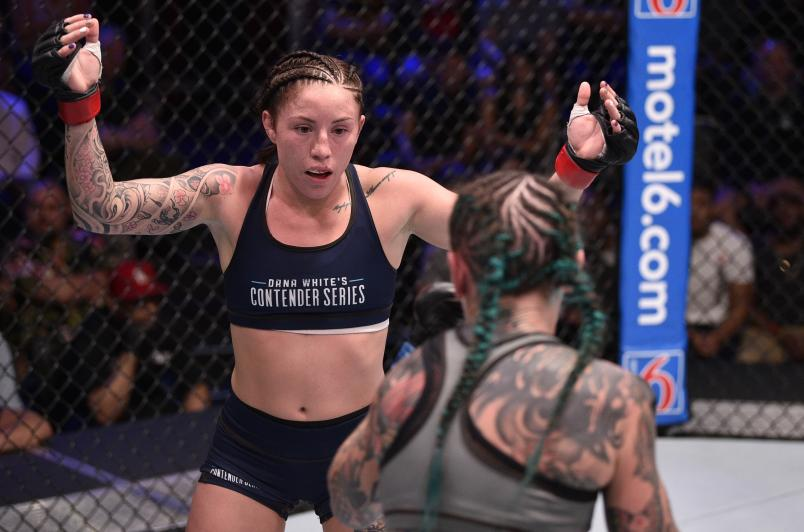 Mallory Martin battles Micol Di Segni in their strawweight fight during Dana White's Contender Series season three week nine at the UFC Apex on August 20, 2019 in Las Vegas, Nevada. (Photo by Chris Unger/Zuffa LLC)