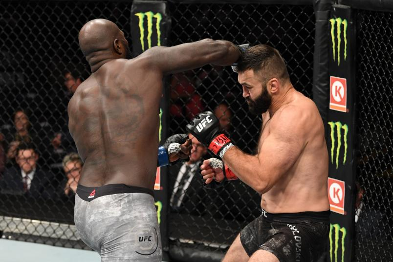 Jairzinho Rozenstruik of Suriname punches Andrei Arlovski in their heavyweight bout during the UFC 244 event at Madison Square Garden on November 02, 2019 in New York City. (Photo by Josh Hedges/Zuffa LLC via Getty Images)