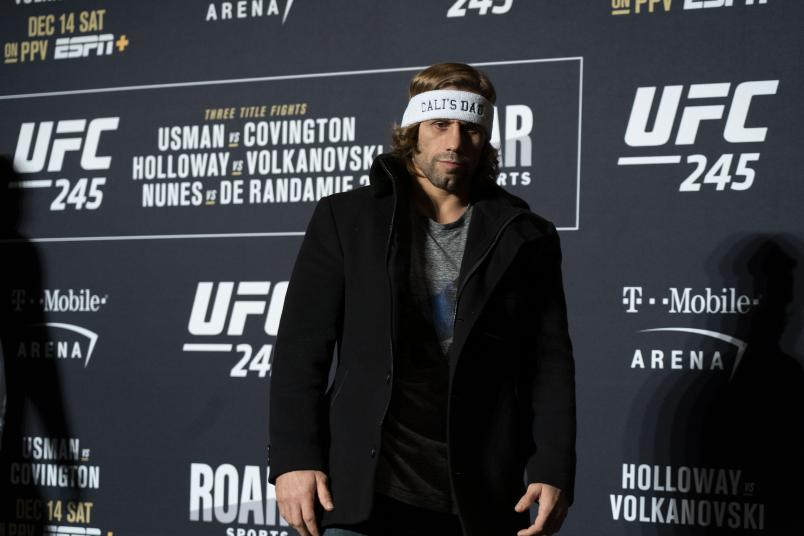 Urijah Faber speaks to the media during the UFC 245 Ultimate Media Day at the Red Rock Casino Resort on December 12, 2019 in Las Vegas, Nevada. (Photo by Jeff Bottari/Zuffa LLC via Getty Images)