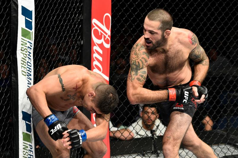 Matt Brown throws an elbow against Diego Sanchez in their welterweight bout during the UFC Fight Night event inside the Ted Constant Convention Center on November 11, 2017 in Norfolk, Virginia. (Photo by Brandon Magnus/Zuffa LLC via Getty Images)