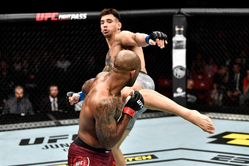 Aleksandar Rakic of Austria kicks Jimi Manuwa of England in their light heavyweight bout during the UFC Fight Night event at Ericsson Globe on June 1, 2019 in Stockholm, Sweden. (Photo by Jeff Bottari/Zuffa LLC via Getty Images)