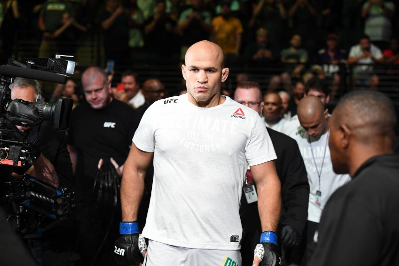 Junior Dos Santos of Brazil walks out towards the Octagon prior to facing Francis Ngannou of Cameroon in their heavyweight bout during the UFC Fight Night event at the Target Center on June 29, 2019 in Minneapolis, Minnesota. (Photo by Josh Hedges/Zuffa LLC via Getty Images)