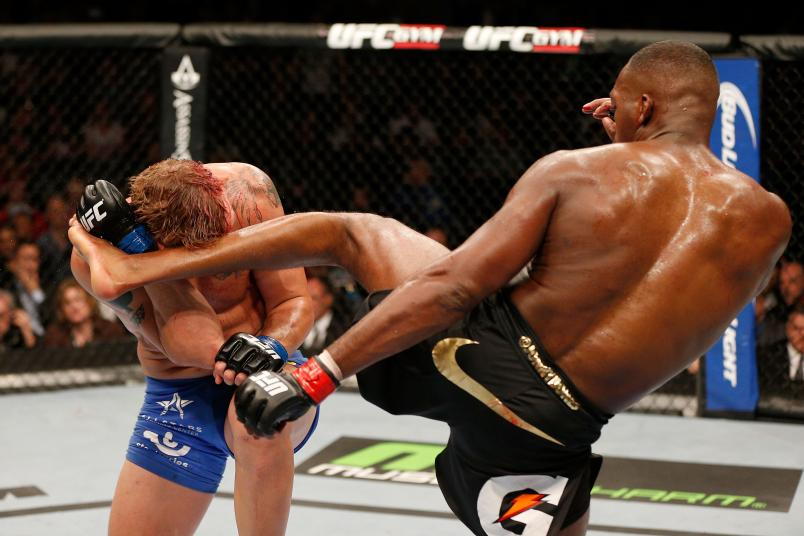 TORONTO, CANADA - SEPTEMBER 21: (R-L) Jon 'Bones' Jones kicks Alexander 'The Mauler' Gustafsson in their UFC light heavyweight championship bout at the Air Canada Center on September 21, 2013 in Toronto, Ontario, Canada. (Photo by Josh Hedges/Zuffa LLC/Zuffa LLC via Getty Images)