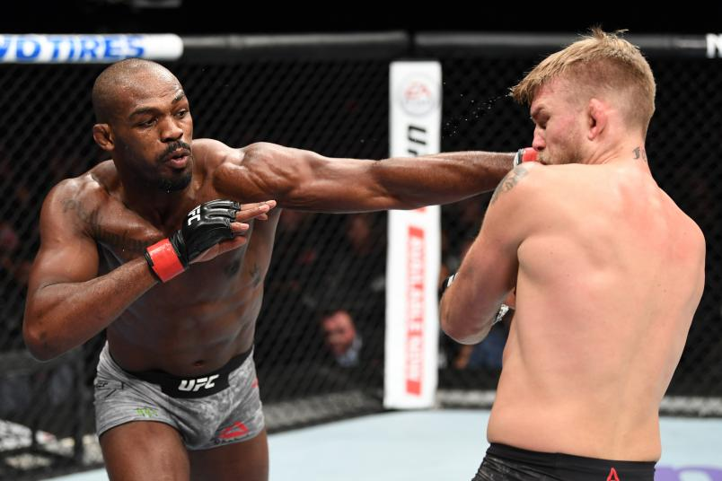 Jon Jones punches Alexander Gustafsson of Sweden in their light heavyweight bout during the UFC 232 event inside The Forum on December 29, 2018 in Inglewood, California. (Photo by Josh Hedges/Zuffa LLC via Getty Images)