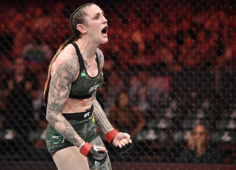 MELBOURNE, AUSTRALIA - OCTOBER 06: Megan Anderson of Australia celebrates after her submission win over Zarah Fairn in their featherweight fight during the UFC 243 event at Marvel Stadium on October 06, 2019 in Melbourne, Australia. (Photo by Jeff Bottari/Zuffa LLC/Zuffa LLC via Getty Images)