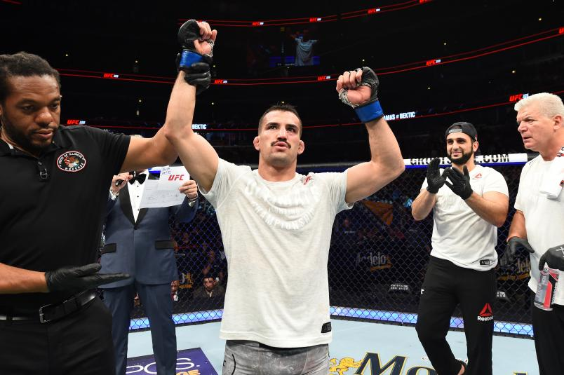 Mirsad Bektic of Bosnia celebrates after defeating Ricardo Lamas in their featherweight fight during the UFC 225 event at the United Center on June 9, 2018 in Chicago, Illinois. (Photo by Josh Hedges/Zuffa LLC via Getty Images)