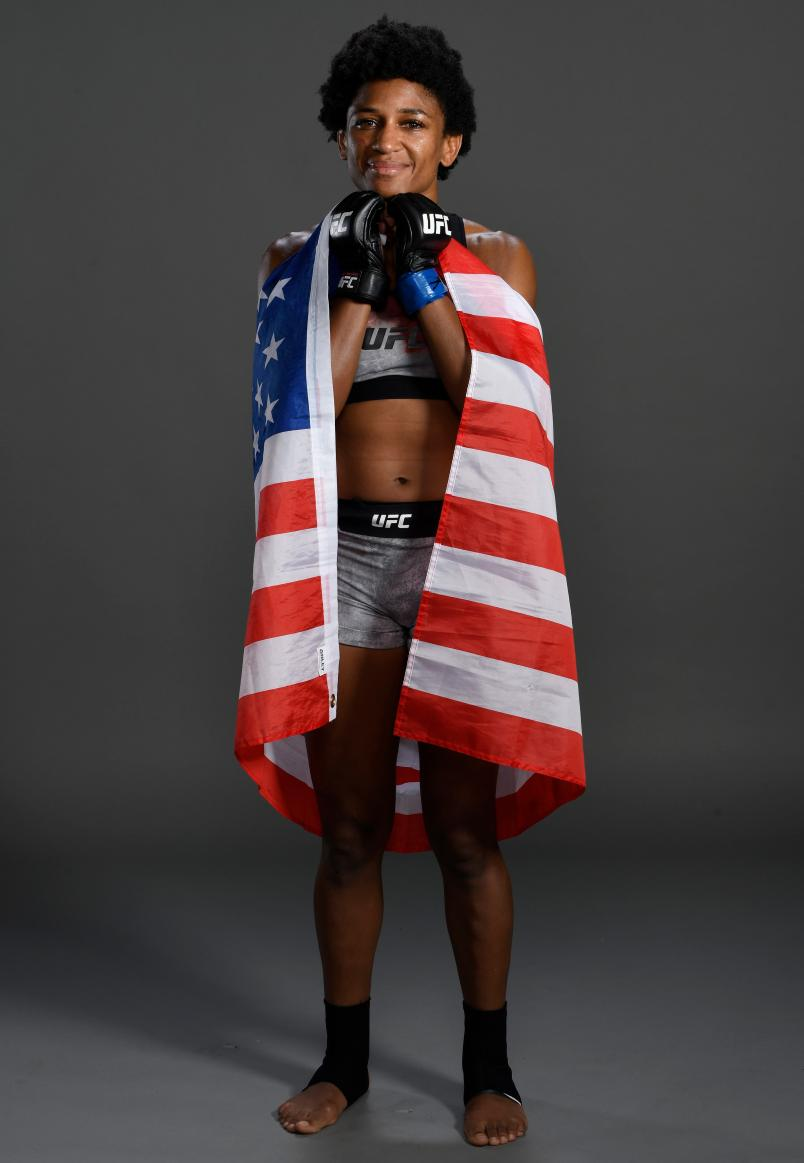 Angela Hill poses for a portrait backstage after her victory during the UFC Fight Night event at PNC Arena on January 25, 2020 in Raleigh, North Carolina. (Photo by Mike Roach/Zuffa LLC via Getty Images)