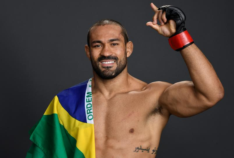 Davi Ramos of Brazil poses for a portrait backstage after his victory over Austin Hubbard during the UFC Fight Night event at Blue Cross Arena on May 18, 2019 in Rochester, New York. (Photo by Mike Roach/Zuffa LLC via Getty Images)