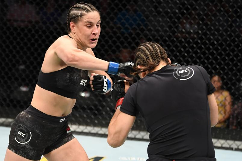 SAN ANTONIO, TEXAS - JULY 20: (L-R) Jennifer Maia of Brazil punches Roxanne Modafferi in their women's flyweight bout during the UFC Fight Night event at AT&T Center on July 20, 2019 in San Antonio, Texas. (Photo by Josh Hedges/Zuffa LLC)