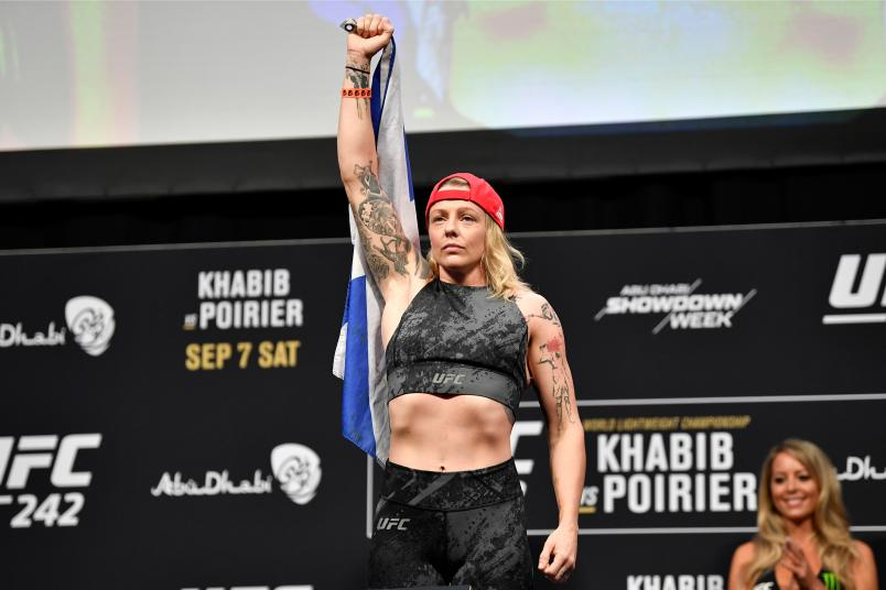 ABU DHABI, UNITED ARAB EMIRATES - SEPTEMBER 06: Joanne Calderwood of United Kingdom poses on the scale during the UFC 242 weigh-in at The Arena on September 6, 2019 in Abu Dhabi, United Arab Emirates. (Photo by Jeff Bottari/Zuffa LLC)