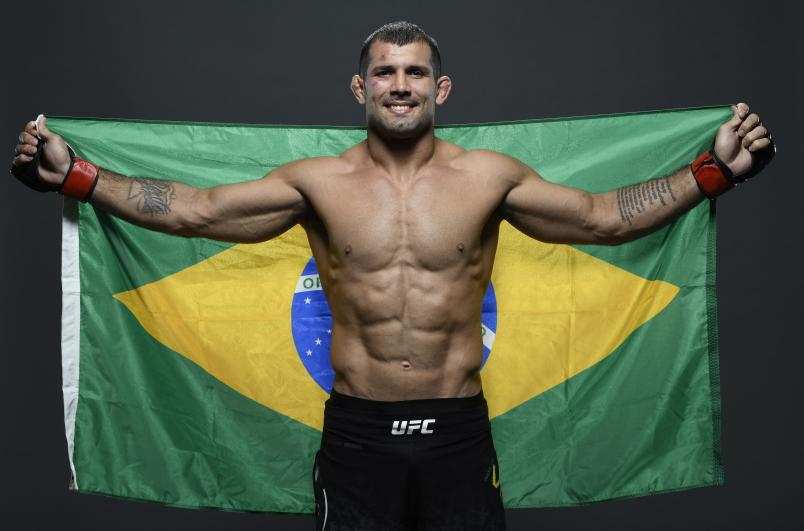 Rodolfo Vieira of Brazil poses for a portrait backstage after his victory during the UFC Fight Night event at Antel Arena on August 10, 2019 in Montevideo, Uruguay. (Photo by Mike Roach/Zuffa LLC)