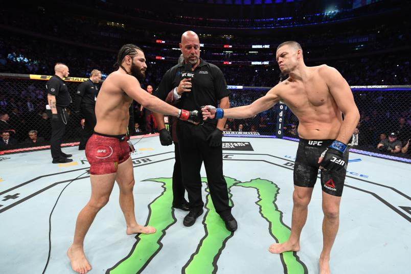 NEW YORK, NEW YORK - NOVEMBER 02: (L-R) Jorge Masvidal and Nate Diaz touch gloves before their welterweight bout for the BMF title during the UFC 244 event at Madison Square Garden on November 02, 2019 in New York City. (Photo by Josh Hedges/Zuffa LLC via Getty Images)