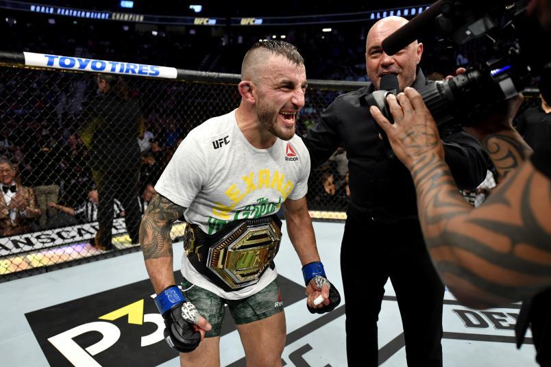 LAS VEGAS, NEVADA - DECEMBER 14: Alexander Volkanovski of Australia celebrates his win during the UFC 245 event at T-Mobile Arena on December 14, 2019 in Las Vegas, Nevada. (Photo by Jeff Bottari/Zuffa LLC)