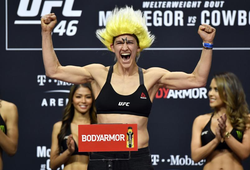LAS VEGAS, NEVADA - JANUARY 17: Roxanne Modafferi poses on the scale during the UFC 246 weigh-in at Park Theater at Park MGM on January 17, 2020 in Las Vegas, Nevada. (Photo by Jeff Bottari/Zuffa LLC)