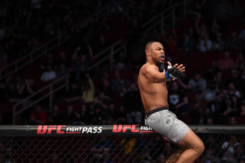 HOUSTON, TEXAS - FEBRUARY 08: Khaos Williams celebrates his TKO victory over Alex Morono in their welterweight bout during the UFC 247 event at Toyota Center on February 08, 2020 in Houston, Texas. (Photo by Josh Hedges/Zuffa LLC)