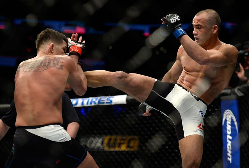 Eddie Alvarez throws a kick at Anthony Pettis