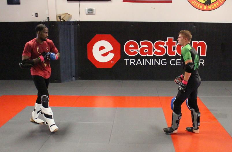 Training with Elevation teammate Neil Magny (L) in Denver, CO, 2019 (Photo by Steve Latrell/Zuffa LLC)