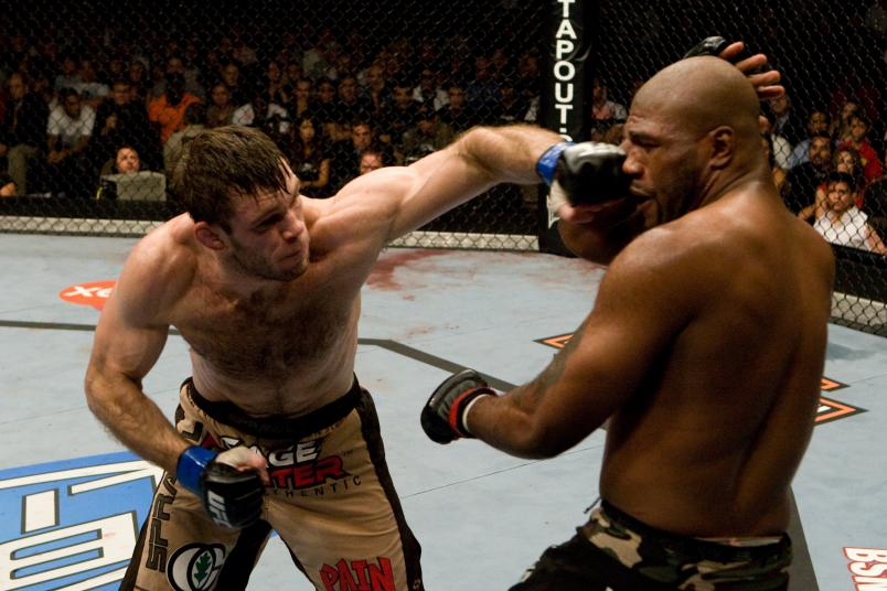 "Forrest Griffin (tan shorts) def. Quinton ""Rampage"" Jackson (black/camo shorts) - Unanimous Decision during the UFC 86 at the Mandalay Bay Events Center on July 5,2008 in Las Vegas, Nevada. (Photo by: Josh Hedges/Zuffa LLC via Getty Images)"