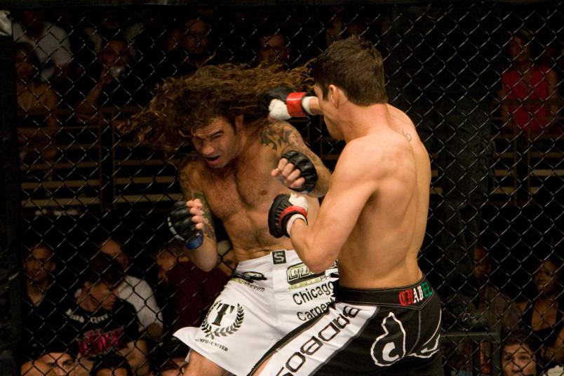 Diego Sanchez (black shorts) def. Clay Guida (white shorts) - Split Decision during The Ultimate Fighter 9 Finale at The Pearl at the Palms on June 20, 2009 in Las Vegas, Nevada. (Photo by Josh Hedges/Zuffa LLC via Getty Images)