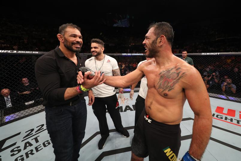 SAO PAULO, BRAZIL: (R-L) Antonio Rogerio Nogueira is congratulated by his brother Antonio Rodrigo Nogueira after he defeated Sam Alvey during the UFC Fight Night event at Ibirapuera Gymnasium in Sao Paulo, Brazil. (Photo by Buda Mendes/Zuffa LLC)
