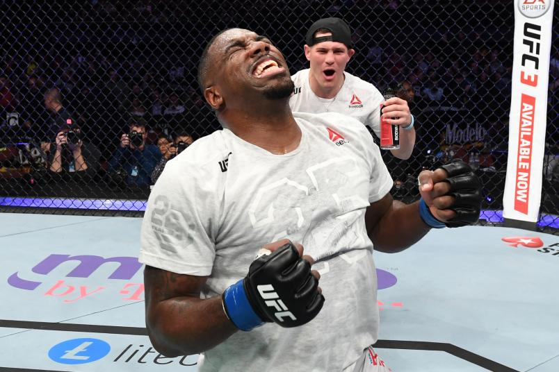 INGLEWOOD, CA - DECEMBER 29: Walt Harris celebrates his victory over Andrei Arlovski of Belarus in their heavyweight bout during the UFC 232 event inside The Forum on December 29, 2018 in Inglewood, California. (Photo by Josh Hedges/Zuffa LLC/Zuffa LLC via Getty Images)