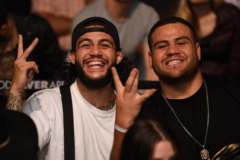 MELBOURNE, AUSTRALIA - FEBRUARY 10: (L-R) Tyson Pedro and Tai Tuivasa pose for a photo during the UFC 234 at Rod Laver Arena on February 10, 2019 in the Melbourne, Australia. (Photo by Jeff Bottari/Zuffa LLC)