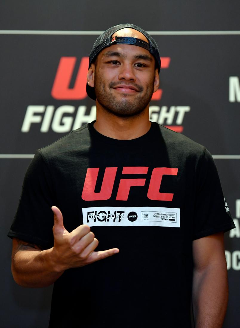 Frank Camacho of Guam poses for media during the UFC Fight Night Ultimate Media Day at the Mandarin Oriental on October 24, 2019 in Singapore, Singapore. (Photo by Jeff Bottari/Zuffa LLC via Getty Images)