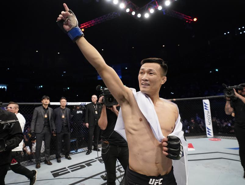 BUSAN, SOUTH KOREA - DECEMBER 21: Chan Sung Jung of celebrates after knocking out Frankie Edgar in their featherweight fight during the UFC Fight Night event at Sajik Arena 3 on December 21, 2019 in South Korea. (Photo by Jeff Bottari/Zuffa LLC)