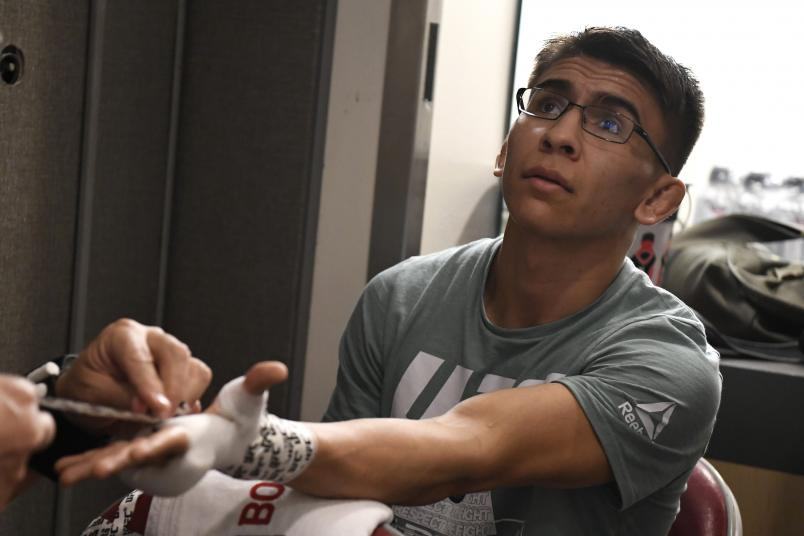 HOUSTON, TEXAS - FEBRUARY 08: Mario Bautista has his hands wrapped backstage during the UFC 247 event at Toyota Center on February 08, 2020 in Houston, Texas. (Photo by Mike Roach/Zuffa LLC via Getty Images)