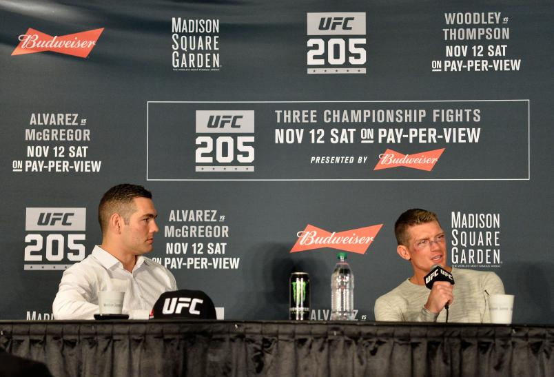 NEW YORK, NY - NOVEMBER 12: (L-R) Chris Weidman and Stephen Thompson speak to the media during the UFC 205 post fight press conference at Madison Square Garden on November 12, 2016 in New York City. (Photo by Brandon Magnus/Zuffa LLC)
