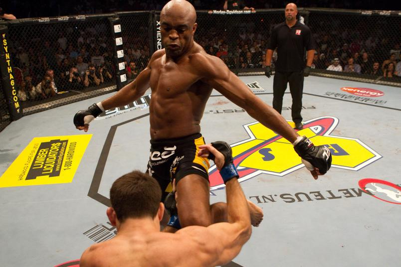 Anderson Silva (black/yellow) def. Demian Maia (white shorts) - Unanimous Decision during UFC 112 at Yas Island on April 10, 2010 in Abu Dhabi, United Arab Emirates. (Photo by Josh Hedges/Zuffa LLC via Getty Images)