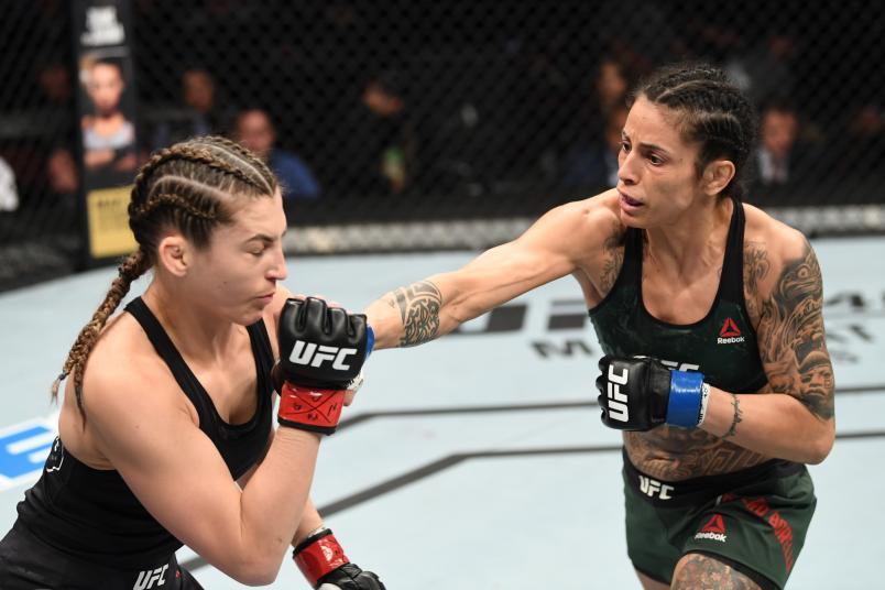 RIO RANCHO, NEW MEXICO - FEBRUARY 15: (R-L) Mara Romero Borella of Italy punches Montana De La Rosa in their women's flyweight bout during the UFC Fight Night event at Santa Ana Star Center on February 15, 2020 in Rio Rancho, New Mexico. (Photo by Josh Hedges/Zuffa LLC via Getty Images)