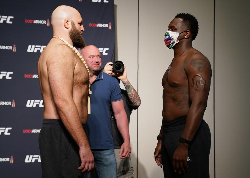 JACKSONVILLE, FLORIDA - MAY 12: (L-R) Opponents Ben Rothwell and Ovince Saint Preux face off during the official UFC Fight Night weigh-in on May 12, 2020 in Jacksonville, Florida. (Photo by Cooper Neill/Zuffa LLC via Getty Images)
