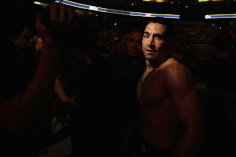 Ricardo Lamas walks out of the Octagon after his featherweight bout against Jason Knight during the UFC 214 event at Honda Center on July 29, 2017 in Anaheim, California. (Photo by Christian Petersen/Zuffa LLC)