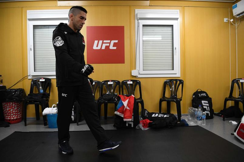 Ricardo Lamas warms up backstage during the UFC Fight Night event inside Arena Parque Rosa on November 17, 2018 in Buenos Aires, Argentina. (Photo by Mike Roach/Zuffa LLC)