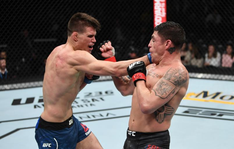 LAS VEGAS, NV - MARCH 02: Mickey Gall punches Diego Sanchez in their welterweight bout during the UFC 235 event at T-Mobile Arena on March 2, 2019 in Las Vegas, Nevada. (Photo by Jeff Bottari/Zuffa LLC/Zuffa LLC)