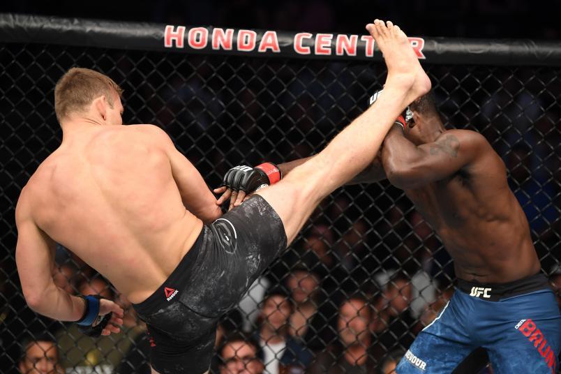 ANAHEIM, CALIFORNIA - AUGUST 17: (L-R) Ian Heinisch kicks Derek Brunson in their middleweight bout during the UFC 241 event at the Honda Center on August 17, 2019 in Anaheim, California. (Photo by Josh Hedges/Zuffa LLC/Zuffa LLC via Getty Images)