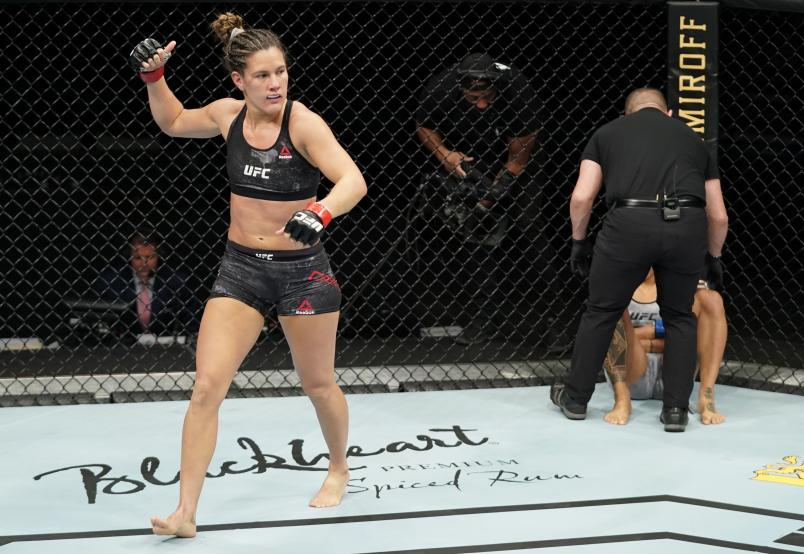 JACKSONVILLE, FLORIDA - MAY 16: Cortney Casey celebrates after her submission victory over Mara Romero Borella of Italy in their strawweight fight during the UFC Fight Night event at VyStar Veterans Memorial Arena on May 16, 2020 in Jacksonville, Florida. (Photo by Cooper Neill/Zuffa LLC via Getty Images)