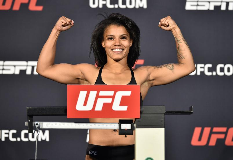 Brianna Van Buren poses on the scale during the UFC weigh-in at UFC APEX on June 19, 2020 in Las Vegas, Nevada. (Photo by Chris Unger/Zuffa LLC)