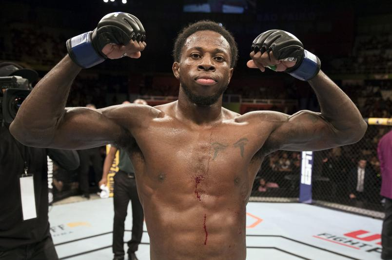 Randy Brown celebrates after his submission victory over Warlley Alves in their welterweight fight during the UFC Fight Night event at Ibirapuera Gymnasium on November 16, 2019 in Sao Paulo, Brazil. (Photo by Alexandre Schneider/Zuffa LLC via Getty Images)