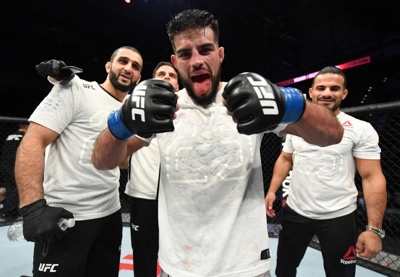 MONCTON, NB - OCTOBER 27: Nasrat Haqparast of Germany celebrates after his decision victory over Thibault Gouti of France in their lightweight bout during the UFC Fight Night event inside Avenir Centre on October 27, 2018 in Moncton, New Brunswick, Canada. (Photo by Jeff Bottari/Zuffa LLC/Zuffa LLC via Getty Images)