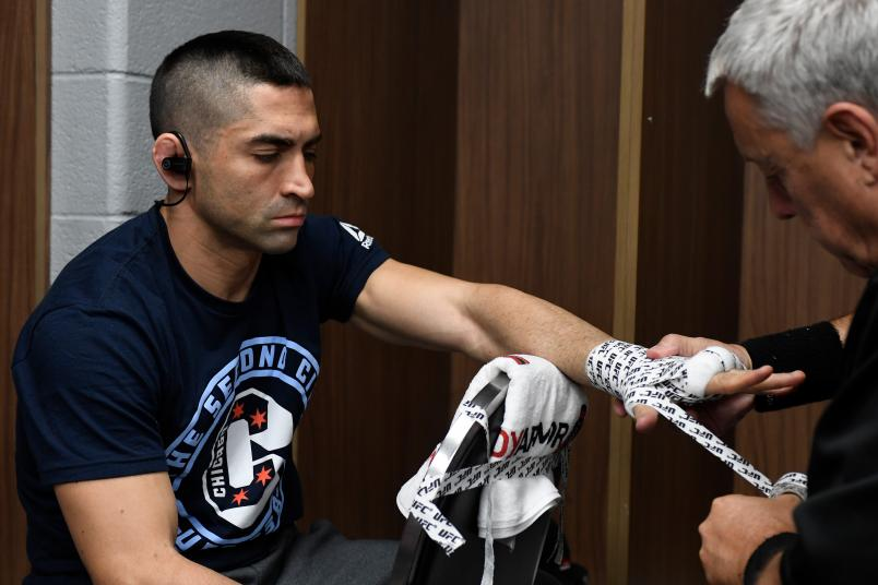 Ricardo Lamas has his hands wrapped backstage during the UFC 238 event at the United Center on June 8, 2019 in Chicago, Illinois. (Photo by Todd Lussier/Zuffa LLC via Getty Images)