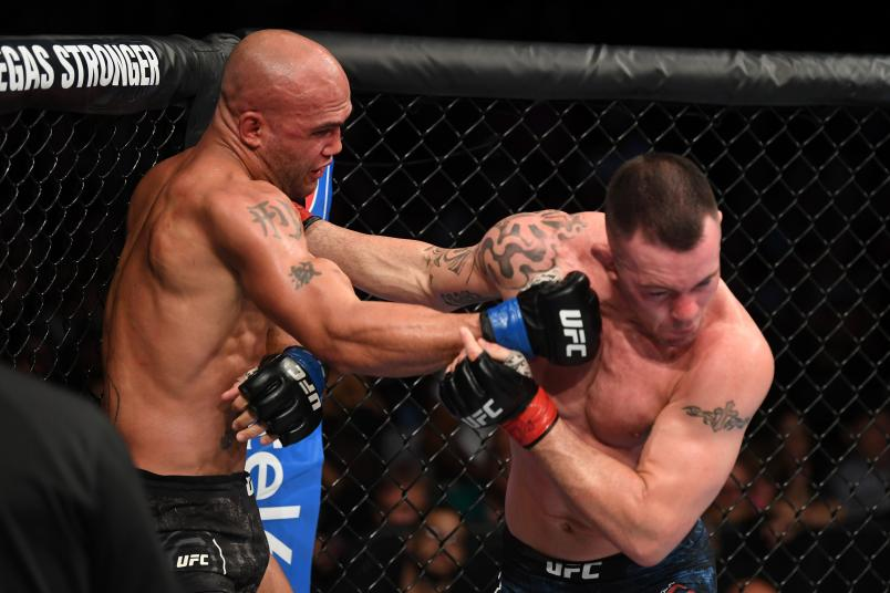 NEWARK, NJ - AUGUST 03: (L-R) Robbie Lawler punches Colby Covington in their welterweight bout during the UFC Fight Night event at the Prudential Center on August 3, 2019 in Newark, New Jersey. (Photo by Josh Hedges/Zuffa LLC/Zuffa LLC via Getty Images)