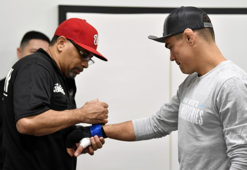 Peter Barrett has his hands wrapped prior to his fight during Dana White's Contender Series season three week 10 at the UFC Apex on August 27, 2019 in Las Vegas, Nevada. (Photo by Jeff Bottari/Zuffa LLC)
