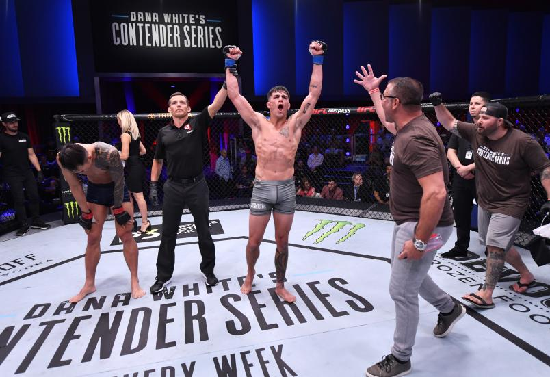 Peter Barrett celebrates after his decision victory over Sanghoon Yoo in their lightweight bout during Dana White's Contender Series season three week 10 at the UFC Apex on August 27, 2019 in Las Vegas, Nevada. (Photo by Jeff Bottari/Zuffa LLC)