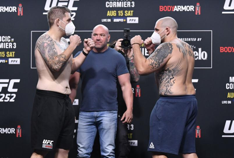 Opponents Chris Daukaus and Parker Porter face off during the UFC 252 weigh-in at UFC APEX on August 14, 2020 in Las Vegas, Nevada. (Photo by Jeff Bottari/Zuffa LLC)