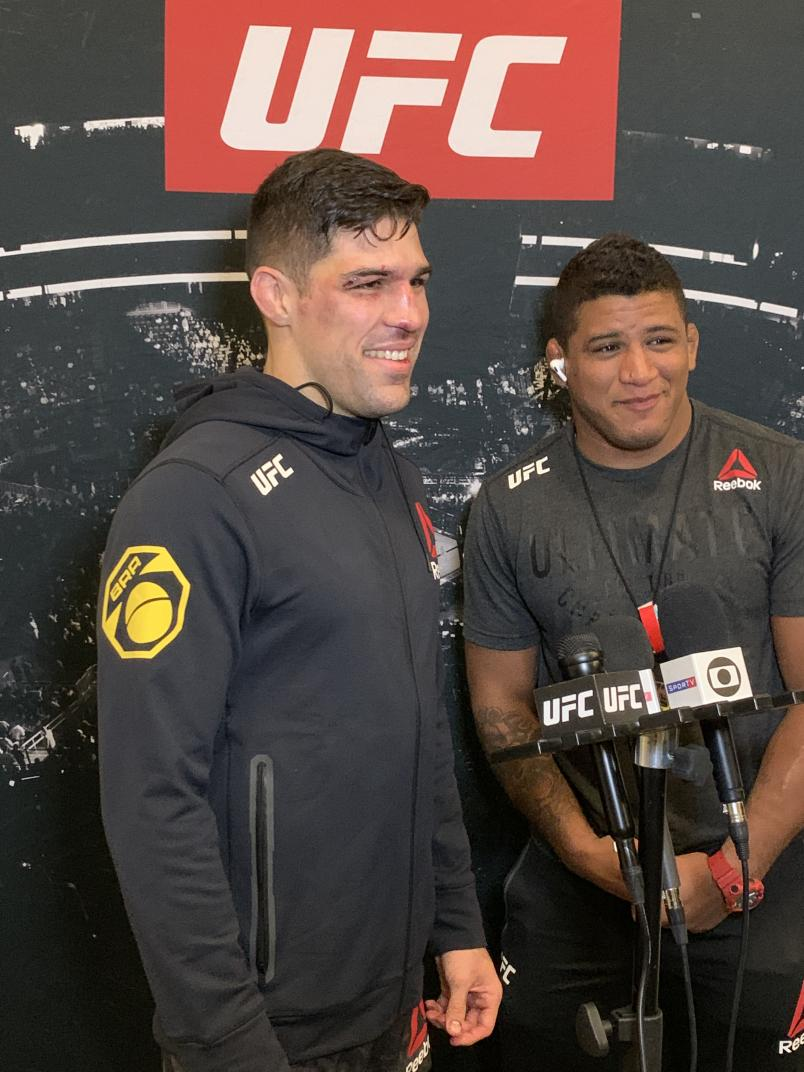 Luque backstage with Gilbert Burns Following His Win at #UFCVegas5 (Photo by Steve Latrell/Zuffa LLC)