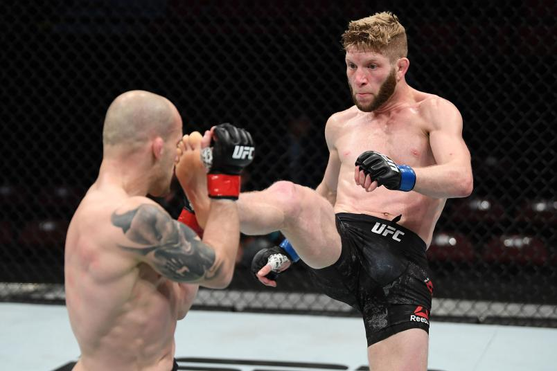 Smith of Canada kicks Mitch Gagnon of Canada in their bantamweight bout during the UFC Fight Night event at Canadian Tire Centre on May 4, 2019 in Ottawa, Ontario, Canada. (Photo by Jeff Bottari/Zuffa LLC/Zuffa LLC via Getty Images)